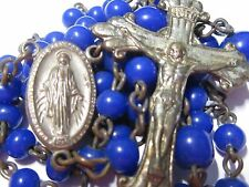 """† LOVELY VINTAGE """"IMMACULATE CONCEPTION"""" COBALT BLUE ROUND ART GLASS ROSARY †"""