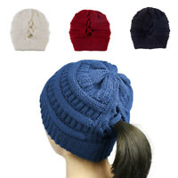 Women HOT Knit Hat Messy Bun Ponytail Beanie Girl Warm Hats Cap Winter Warm