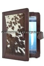 iPAD 2 3 & 4 BROWN & COW SKIN FUR Luxury Real Genuine Leather Cover Case Stand