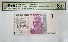 2007 Zimbabwe 1 Dollar PMG65 EPQ GEM  UNC Prefix AA  P-65