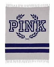 Victoria's Secret Pink Grey Gray Boyfriend Festive Blanket Picnic Beach 40Lx70W