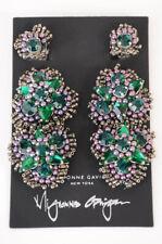 Mignonne Gavigan green crystal embellished hand beaded drop earrings NEW $425
