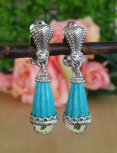 Judith Ripka Carved Turquoise And Clear Quartz Dangle Clip On Earrings Sterling