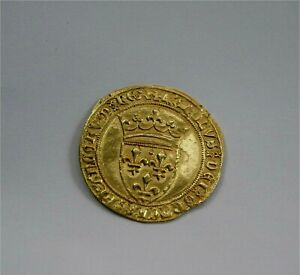 France Charles VI 1380-1422 Gold Ecu D'or Couronne Superb UNC