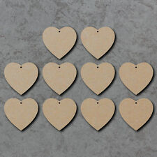 Hearts x10 - Wooden Christmas Laser Cut mdf Craft Blanks / Shapes