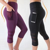 Women's Capri Leggings With Pockets Yoga Pants Cropped Gym Fitness S M L XL XXL