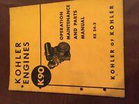 KOHLER MOTOR MODEL K90 PARTS MAINTENANCE OPERATION OPERATOR MANUAL