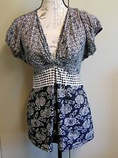 Max Edition Women's clothing, Black & White Floral/Paisley, Size S