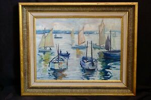 1950s Cornish St Ives Oil Painting of Fishermen Boats at Sea - R. A. Park