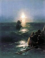 Walking on Water by Russian Ivan Aivazovsky. Religion Repro on Canvas or Paper