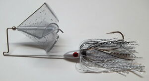 (1) 1/2 Oz. Custom Topwater Buzzbait Lure-(Silver Shad w/Clear)-Bass Fishing-NEW