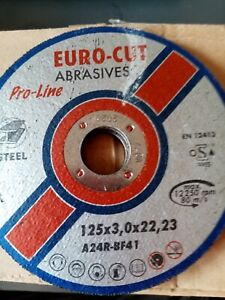 Euro Cut 125mm x 3mm Pro Metal Flat Cutting Discs Pack of 20 or 50