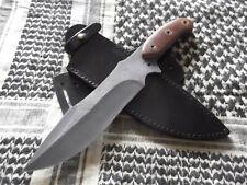 Custom Wilderness Survival Bowie Knife 8in Carbon Steel Blade & Leather Sheath