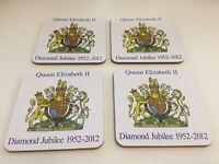 Set of 4 Queen Elizabeth II Diamond Jubilee Souvenir Drinks Coasters Cork Backed