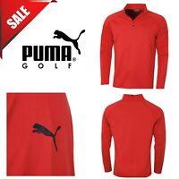 Puma Golf Mens Core 1/4 Zip Cresting Long Sleeve Fleece Popover New Red