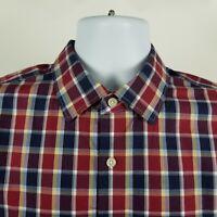 Banana Republic Non Iron Camden Fit Mens Blue Red Check Dress Button Shirt Large