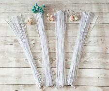 100 White Floral Wire Stem Flower Bunch Stub DIY Craft Wreath Pom Gauge 22-30
