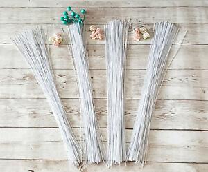 100 x White Floral Wire Stem Florist Bunch Stub DIY Craft Wreath Pom Gauge 22-30