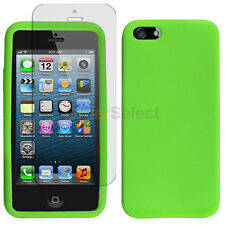Silicone Soft Rubber Gel Case+LCD Screen Guard for Apple iPhone 5 5S SE Green