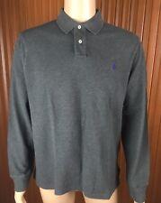(Used) Polo Ralph Lauren Mens Long Sleeve Polo Shirt Size: XL Grey Small Pony