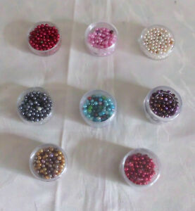 Hobbyauflösung kl. Sammlung Perlen - Wachsperlen bunt = in 4 mm   8 x Dosen