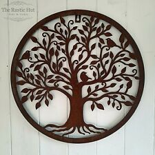 More details for tree of life with birds, rust wall art, hanging plaque, garden decoration, 40cm