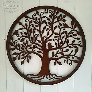 Tree of Life with Birds, Rust Wall Art, Hanging Plaque, Garden Decoration, 40cm