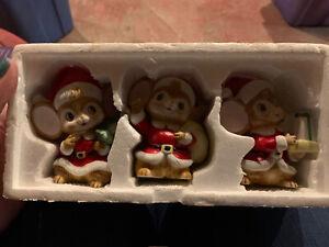 Set 3 Home Interior HOMCO Porcelain Christmas Holiday Mice Figurines #5405 VNTG