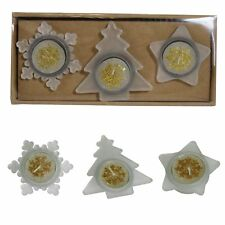 Natale Tealight Candele e Supporto Set-Albero Stella & Fiocco di Neve-Oro