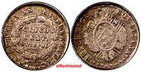 Bolivia Silver 1882 FE  5 Centavos Potosi VF Condition Toned KM# 157.1