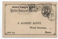 1897 Boston MA involute flag cancel on 1ct reply card to West Newton MA [4260.2]
