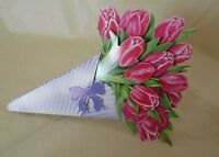 Tulip Flowers Birthday Card Easter Card Mother's Day Flower Bouquet Card 3d