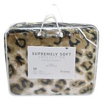 1pce Leopard Queen Blanket 200x240cm Animal Print w/Carry Bag Faux Mink Soft