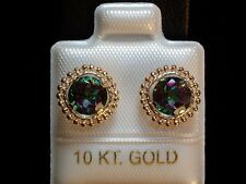 Mystic Topas Ohrstecker - 6 mm - Milgrain Fassung - 10 Kt. Gold - 417 - Ohrringe