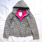 NEW MICHAEL KORS GRAY PINK DOWN PUFFER CHEVRON QUILTED PACKABLE JACKET COAT