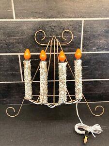 "VTG MCM Metal Candelabra Electric Christmas Bulb Burning Wall Hanging Stand 14""T"