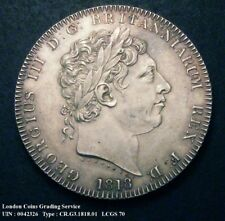 More details for 1818 gef george iii silver crown coin viii lcgs 70 (ms60)