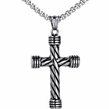 "Vintage Men's Stainless Steel Religious Cross Pendant 22"" Rolo Chain Necklace"