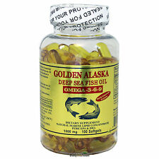 Golden Alaska Deep Sea Fish Oil Omega-3-6-9 1000 mg 100 SG DHA EPA Made In USA