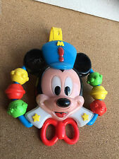 Talking head and rattle cot toy cradle singing MICKEY MOUSE Disney Old