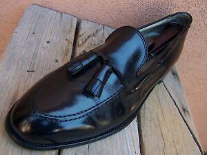 ALDEN Mens Dress Shoes Black Leather Casual Slip On Tassel Loafers Sz Size 11.5C
