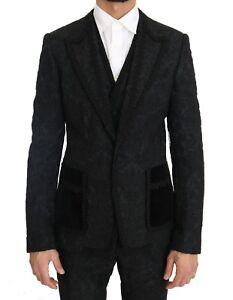 NEW DOLCE & GABBANA Suit Black Torrero Slim 3 Piece One Button EU44 / US34