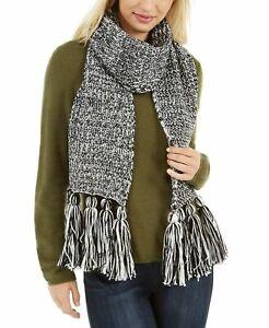 CALVIN KLEIN Womens Chunky Knit Marled Scarf White Black $58 - NWT