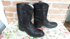 JUSTIN Roper Leather Kids Western Boots Sz 2 1/2 D  Black shows very little wear