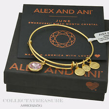 Authentic Alex and Ani June Birthstone Yellow Gold Light Amethyst Bangle
