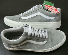Vans Women's Old Skool Pig Suede Drizzle Grey White shoes Water Repel Size 9.5