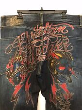 NWT Christian Audigier Mens Death From Above Sherland Wash Jeans Size 40 x 32