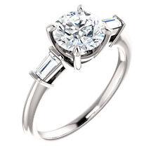 14 Karat White Gold 1.75 CT TW Genuine Round White Sapphire Engagement Ring