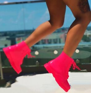 MELBOURNE-02 Fuchsia Neon Jelly Waterproof Lace Up Combat Boot