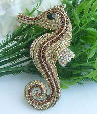 """Unique Animal 3.74"""" Seahorse Brooch Pin Topaz Rhinestone Crystal 05945C5"""